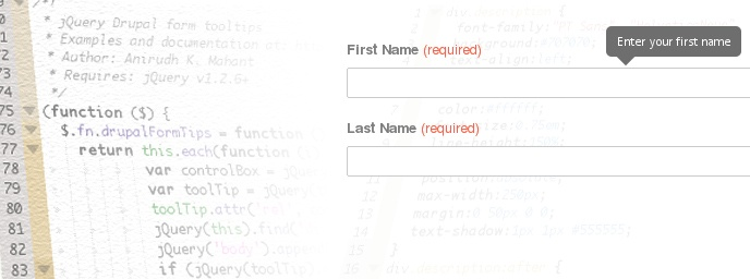 Uncluttered Drupal form tooltips with jQuery